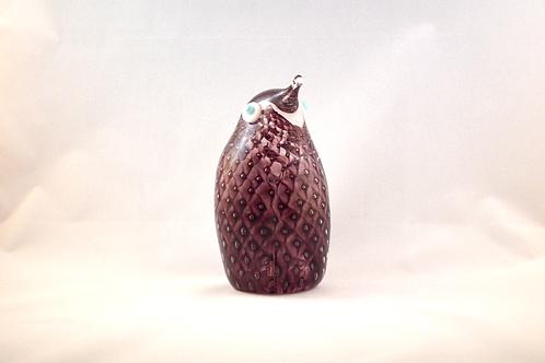 Ray Annenberg Art Glass Bubbled Penguin in Aubergine