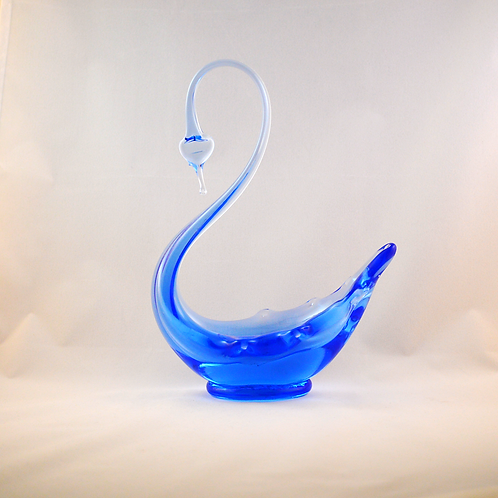 Whitefriars Glass Footed Swan in Sky Blue