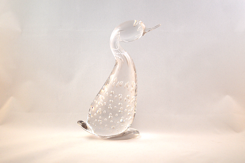 Rare Early Whitefriars Glass Duck in Flint