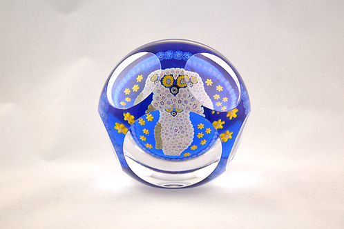Whitefriars Rare Large Owl Mosaic Millefiori Paperweight on Scarce Light Blue