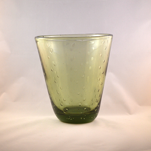 Whitefriars Large Controlled Bubble vase in Sea Green