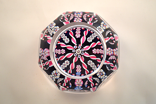 Whitefriars Pre-production P41 Candy Twist Paperweight with Ball Cuts