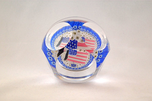 Rare Whitefriars Large American Flag Millefiori Paperweight
