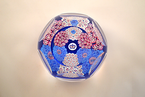 Whitefriars Pre-production Trial Coronation Bouqet Paperweight on Light Blue