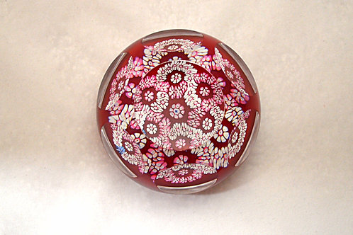 Whitefriars Experimental Design Ruby Ground Garland Millefiori Paperweight