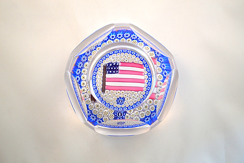 Whitefriars Pre-production Trial Large USA Flag Paperweight