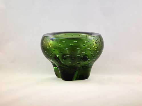 Whitefriars Controlled Bubble Molar Bowl in Sea Green