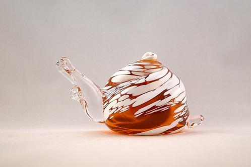 Whitefriars Rare Snail in FLC Gold With White Enamel