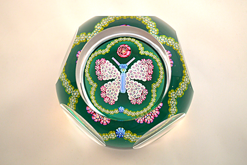Rare Pre-production Trial Butterfly Clichy Rose Paperweight on Green