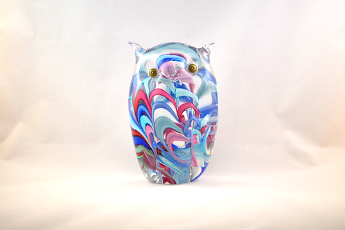 Large Ray Annenberg Millefiori Glass Streaky Owl