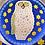 Thumbnail: Whitefriars Rare Large Owl Mosaic Millefiori Paperweight on Scarce Light Blue