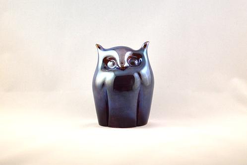 Ray Annenberg Art Glass Bubbled Owl in Liquid Metal