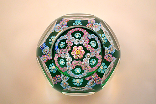 Lovely Whitefriars Design Trial Garland Paperweight on Light Green