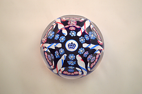 """Whitefriars Pre-production 2.5"""" Trial Candy Twist Coronation Paperweight"""