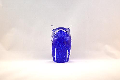 Ray Annenberg Art Glass Bubbled Owl in Blue