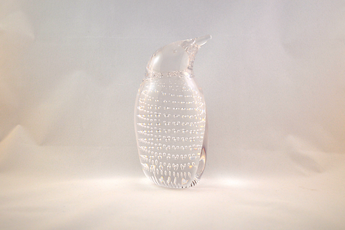 Whitefriars Glass Bubbled Penguin 1980 in Flint