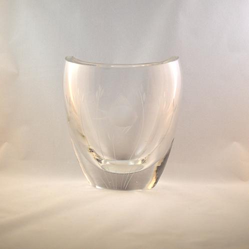 Whitefriars Cut Crystal Engraved Fish Vase