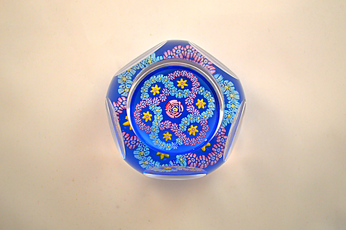 """Rare Whitefriars """"Smithsonian Clichy Rose"""" Miniature Paperweight with Daffodils"""