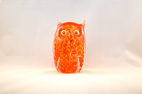 Ray Annenberg Art Glass Bubbled Owl in Tangerine