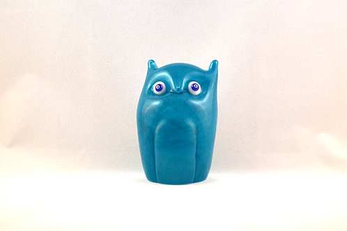 Ray Annenberg Art Glass Owl in Cloudy Blue