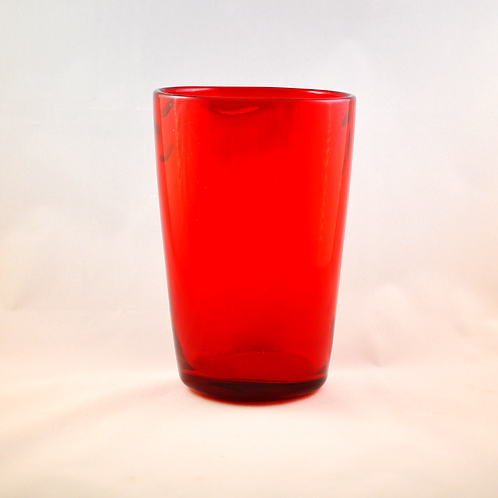 Large Whitefriars Wave Ribbed Vase in Ruby