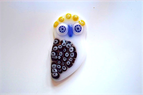 Ray Annenberg Art Glass Owl Pendant - with WF's Canes