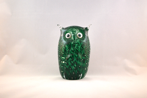 Ray Annenberg Art Glass Bubbled Owl in Cased Green