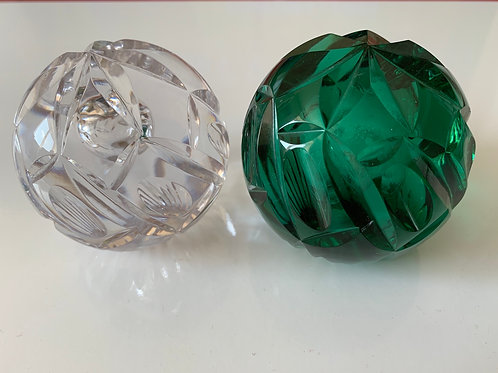 Whitefriars Crystal Cut Faceted Paperweights in Aqua and Flint