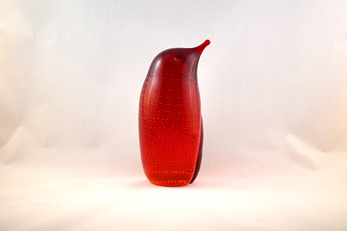Whitefriars Glass Bubbled Penguin 1980 in Ruby
