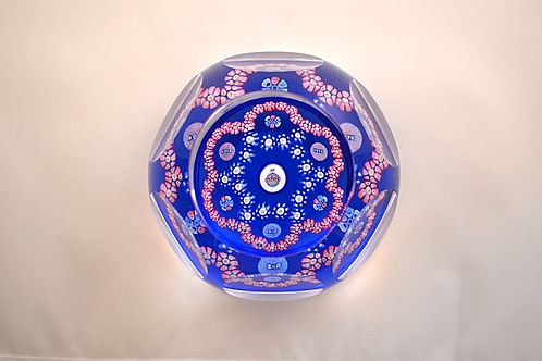Whitefriars Pre-production Trial Coronation Orb Paperweight on Light Blue