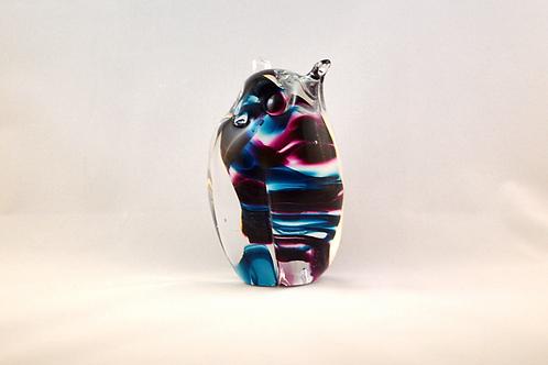 Ray Annenberg Art Glass Bubbled Owl in Magic Streaks