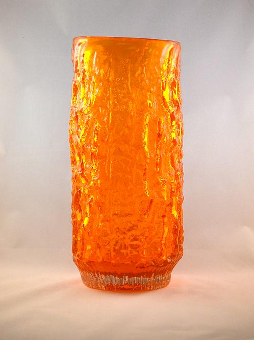 Whitefriars Fluted Bark Vase in Tangerine