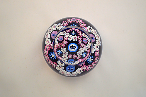 Miniature Whitefriars Pre-production Trial Garland Coronation Paperweight