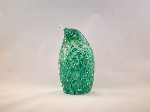Ray Annenberg Art Glass Bubbled Penguin in Cased Green