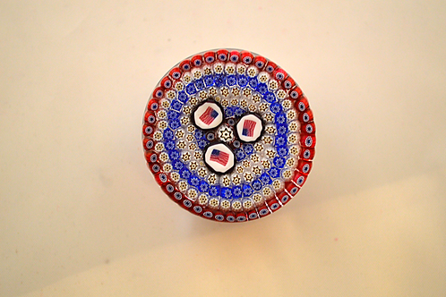 Whitefriars Pre-production Trial 3 Flags (USA) Millefiori Button Base