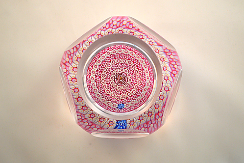 """Epic Whitefriars Experimental Full Size """"Clichy Rose"""" Concentric Paperweight"""