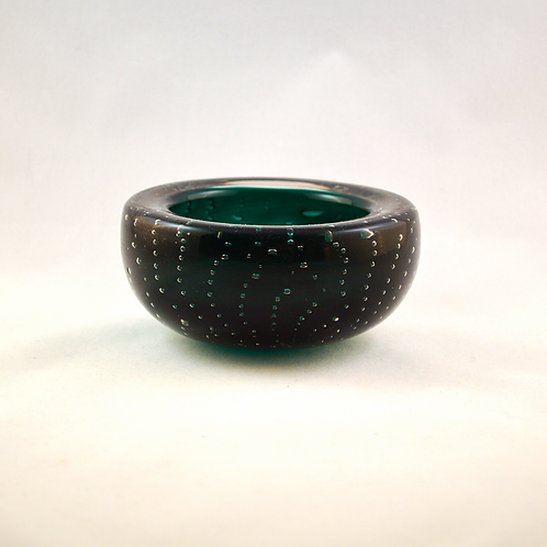 Whitefriars Controlled Bubble Bowl / Pin Dish in Cased Green