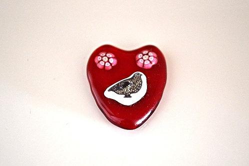 Ray Annenberg Art Glass Partridge Heart Pendant