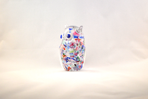 Miniature Ray Annenberg Millefiori Chips Glass Owl