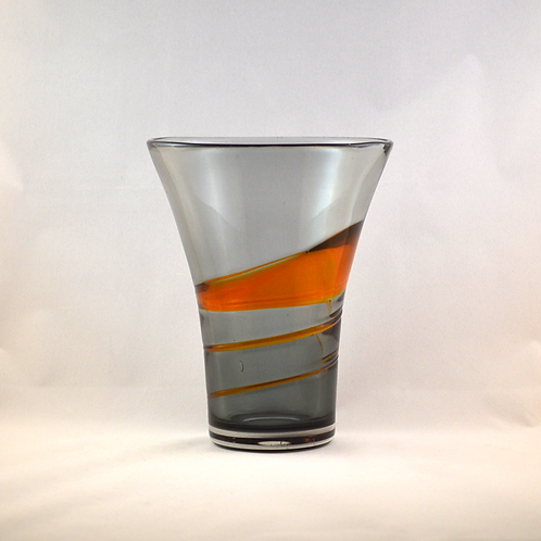 Whitefriars Ribbon Trailed Vase in Tangerine on Pewter
