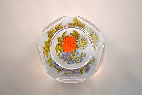 Rare Whitefriars Experimental Floral Paperweight