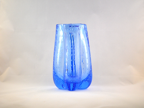 Whitefriars 1980 FLC SKY BLUE Bubbled Lobed vase