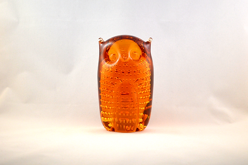 Whitefriars Glass Bubbled Owl 1980 in Gold