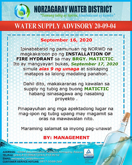45. ADVISORY 20-09-04 (install fire hydr