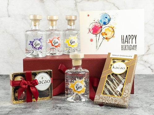 Birthday 4 Bottle Gin & Chocolate Gift Set