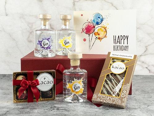 Birthday 3 Bottle Gin & Chocolate Gift Set