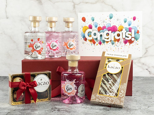 Congratulations 4 Bottle Gin & Chocolate Gift Set