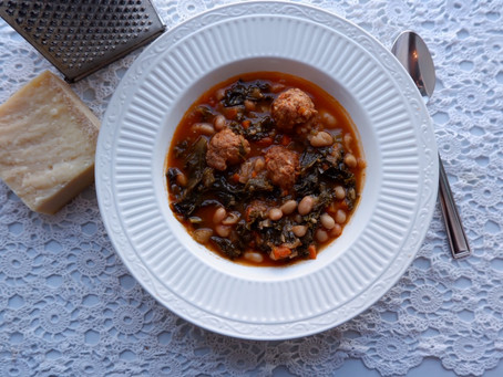 White Bean Soup with Sausage Meatballs