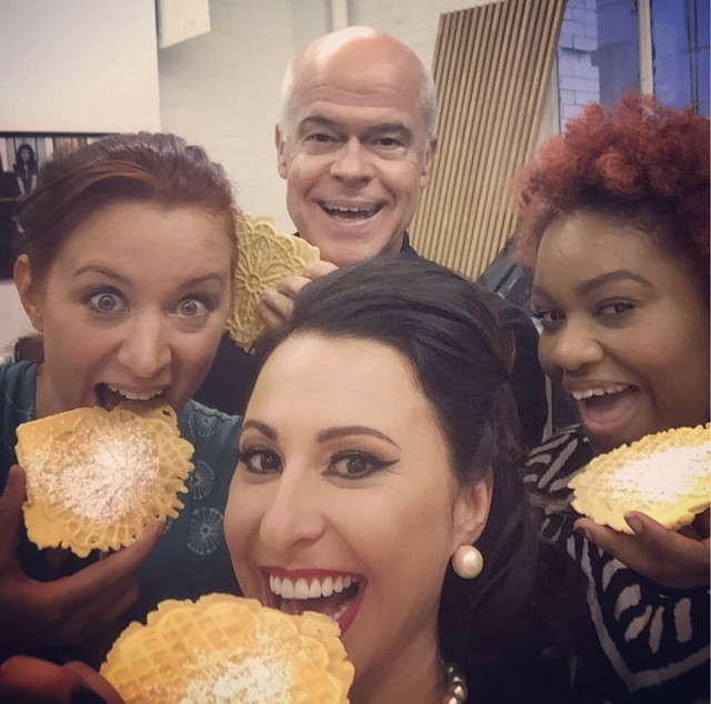 eating pizzelles with friends is fun!