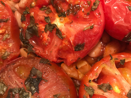 Roasted tomatoes and Cannellini beans